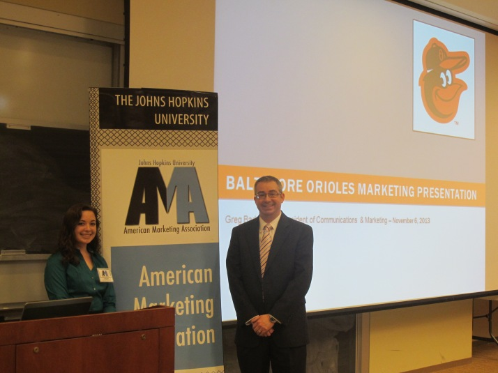JHU AMA Vice President Liz Bagdorf (left) and the Baltimore Orioles VP of Marketing Greg Bader