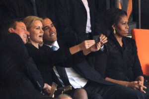 President Obama's famous selfie at the Nelson Mandela memorial