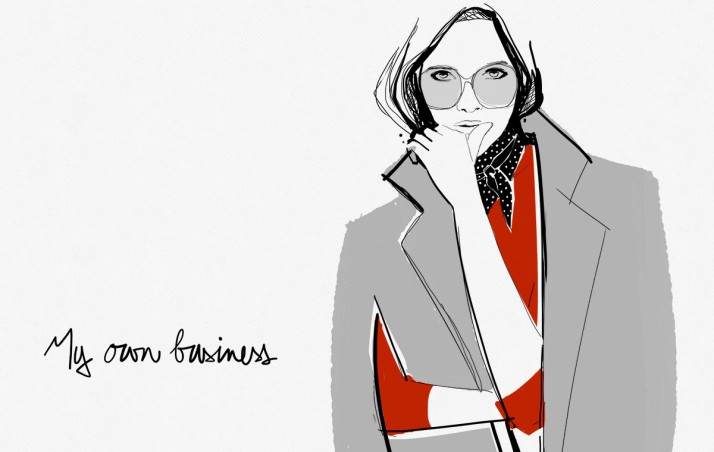 An illustration by French blogger Garance Dore, first used as unique editorial content for her self-named blog, differentiating it from photography-heavy competitors.  Illustrations like this are now being sold on her online boutique.